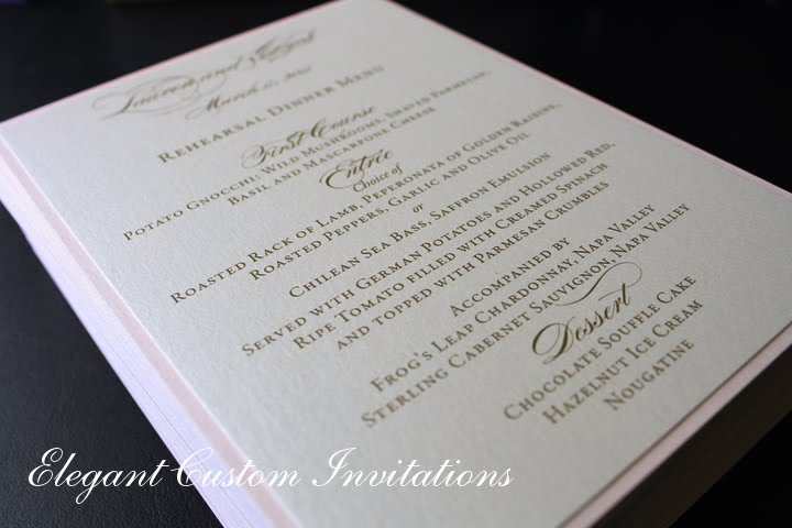 Lovely The Rehearsal Dinner Menu Cards Were Layered Flatcards Using The Same Blush  Pink Backing From The Wedding Invitations.