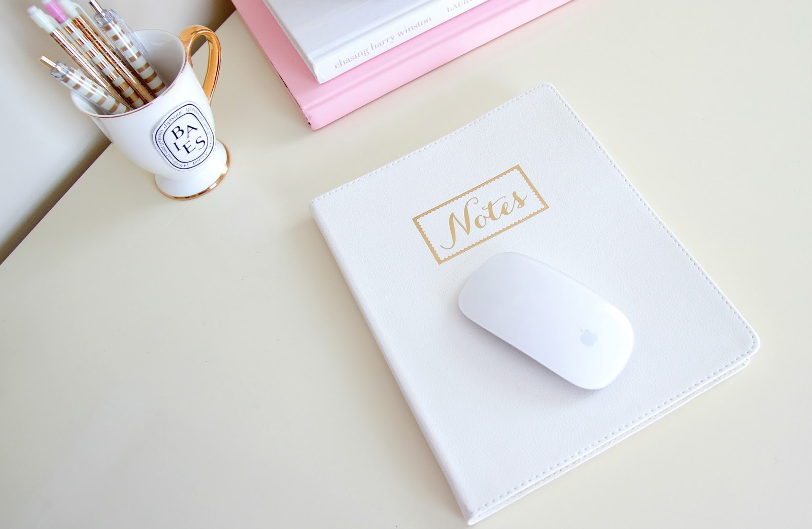Desk Organization - Tj Maxx Notebook - Girly Desk - Ikea Desk - Desk Decor