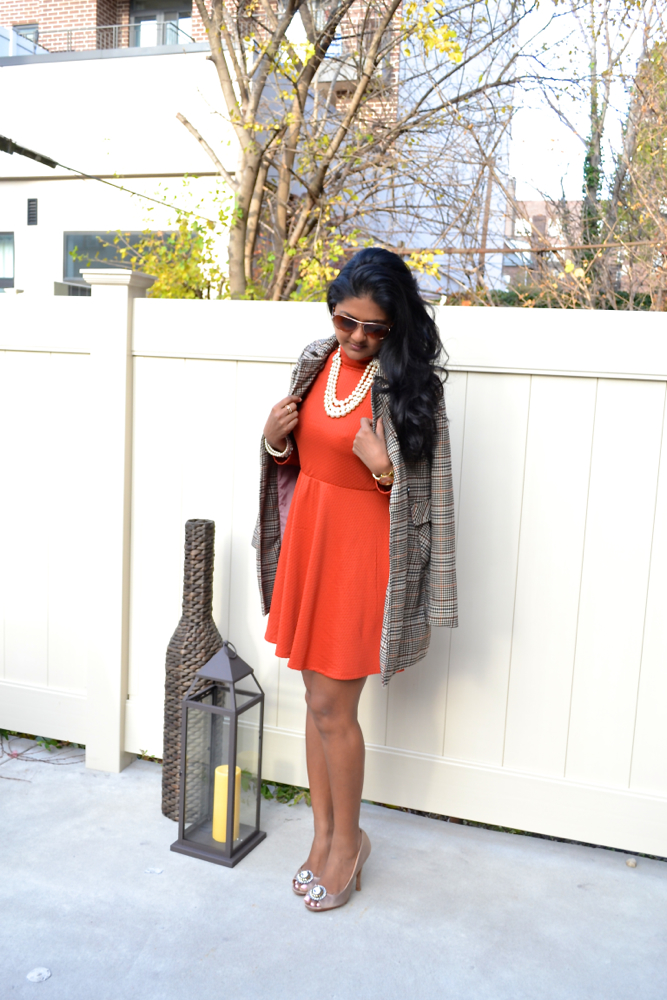 H&M coats orange dress Astoria in heels