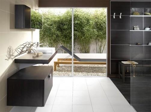 Baños Modernos Acabados:Cuarto de baño moderno y minimalista Diseño elegante con acabados