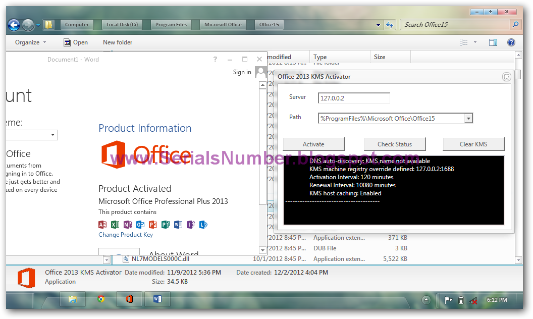 office 2012 activated activator key crac