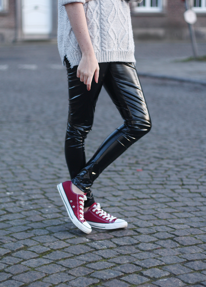 Pvc Leggings Converse And Roll Neck Knit The Styling