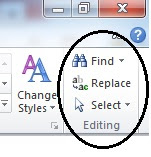 menu editing find replace word