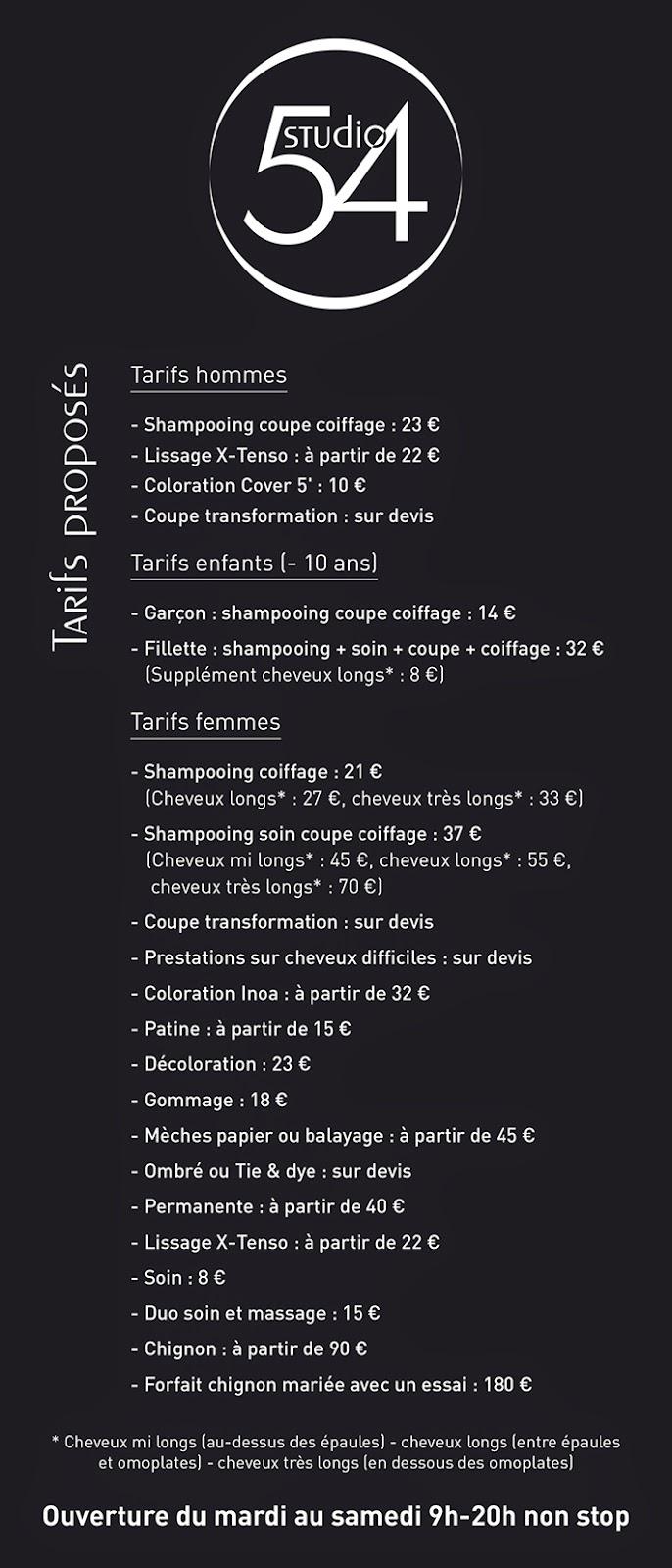 grille de tarifs proposs au studio 54 tarifs jour au 25 novembre 2014 - Coiffeur Coloriste Montpellier