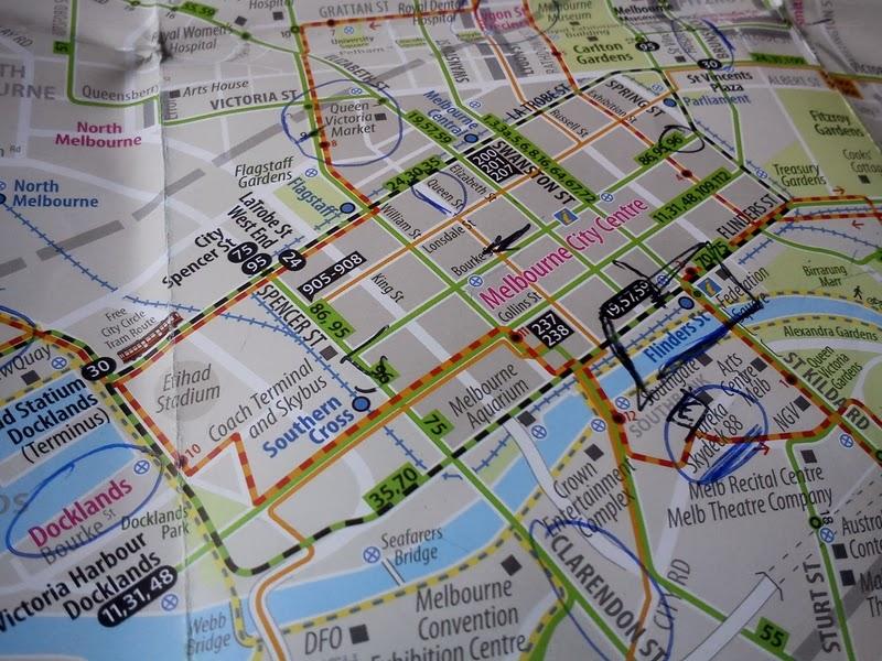 Melbourne Inner precincts tram map, Australia