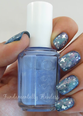 Galaxy nails tutorial with Essie Bikini So Teeny