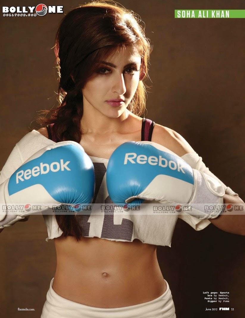 Soha Ali khan boxing gloves - Bikini Pic - (2) - Soha Ali khan Bikini Pics, Navel show FHM June 2012