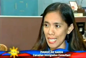 Jenny Reyes of ABS-CBN BANDILA interviewing Evangeline Naron of Canadian Immigration Consultancy