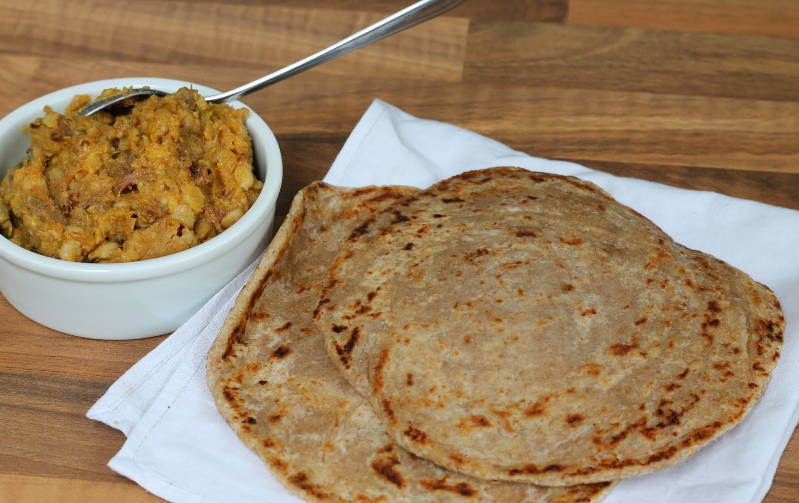 Parathas with a bowl of daal