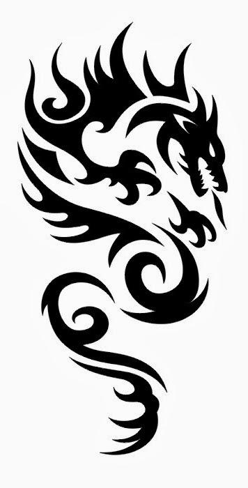 Dragon tribal tattoo stencil