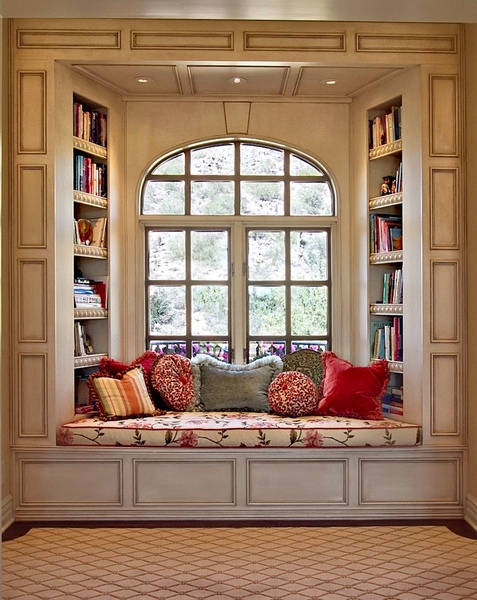 This is a very lovely place to sit and read. Can you imagine opening those  windows and sitting there in the breeze, totally immersed.