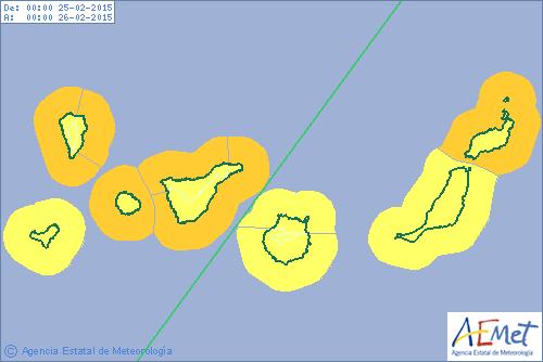 Avisos por viento y costero Canarias, febrero