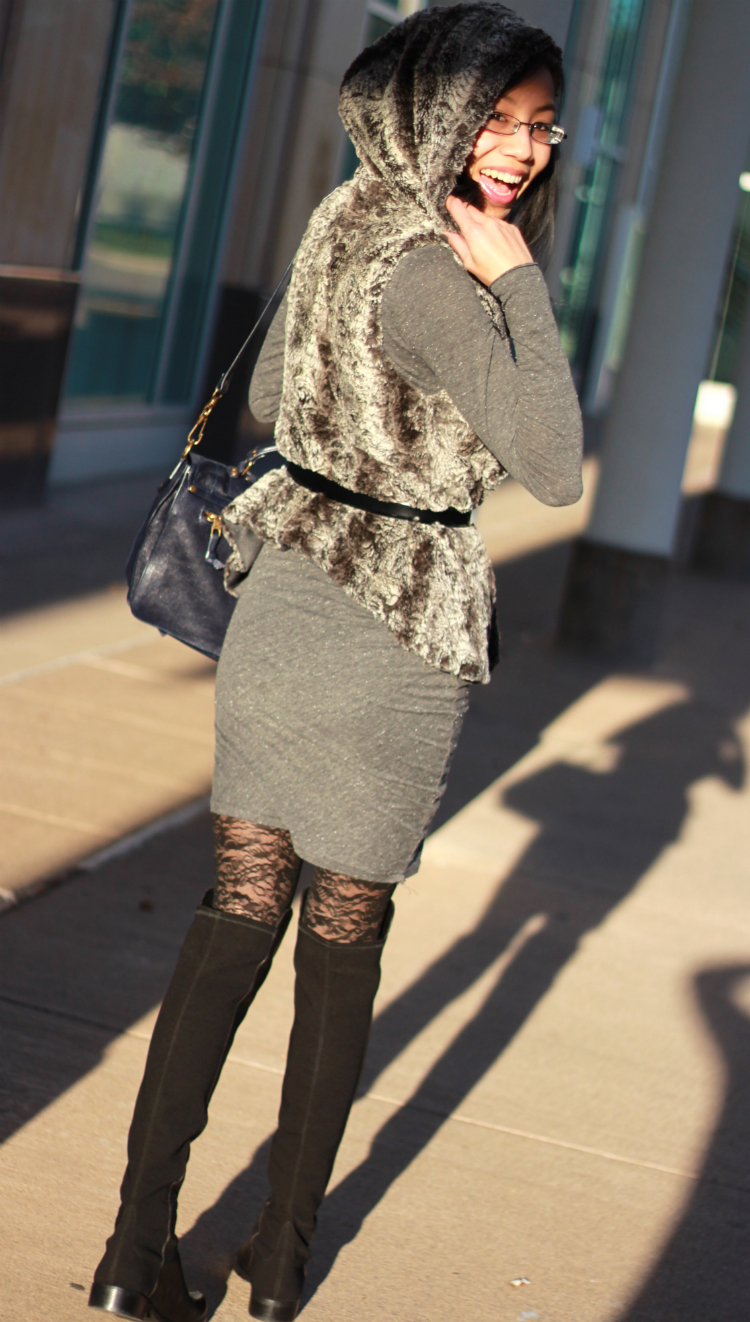 fall layering with dresses and vest tights under dress