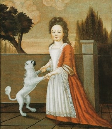 1710s Justus Engelhardt Kuhn (fl 1707 1717) Young Girl with Dog