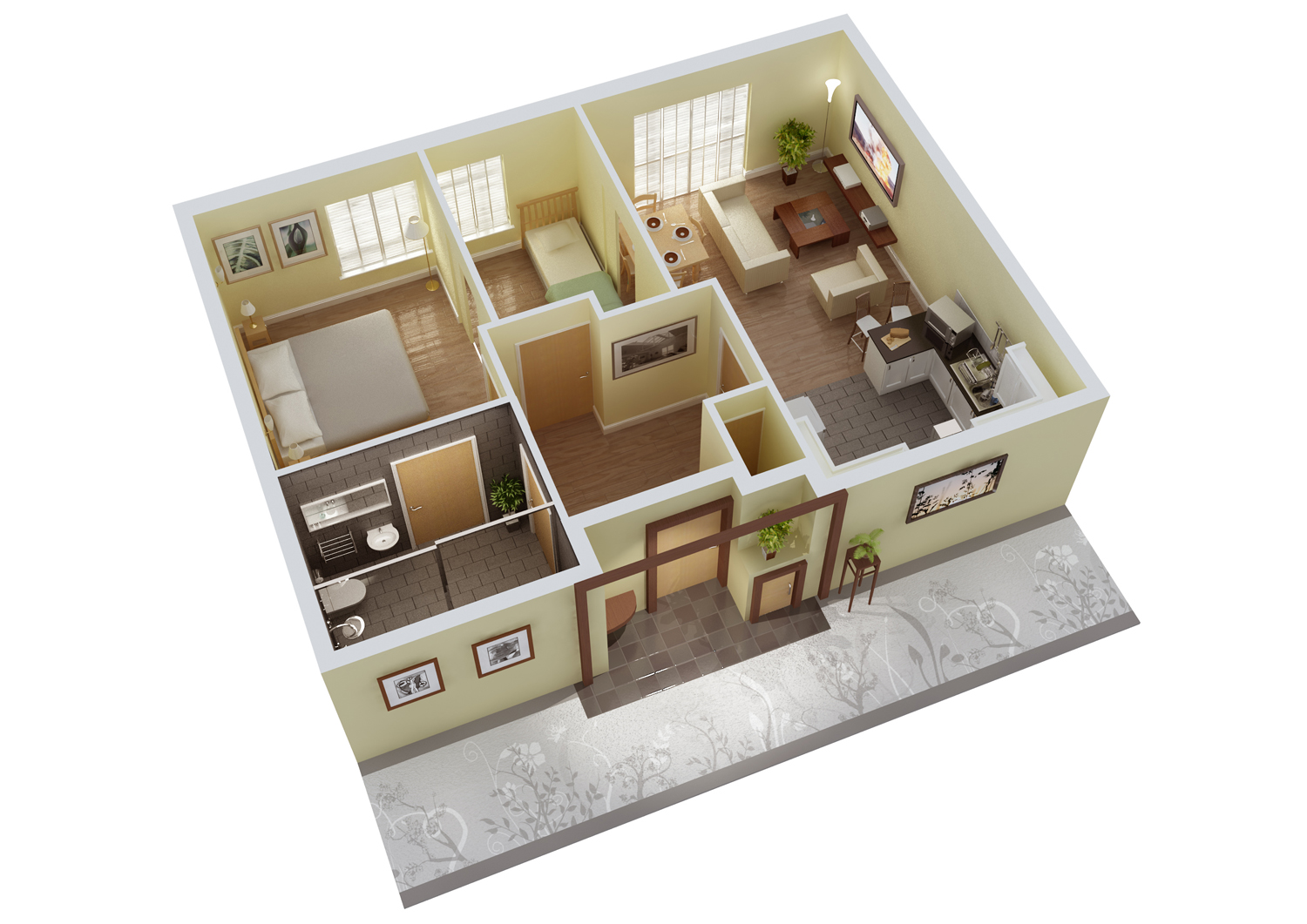 3D Small House Floor Plans