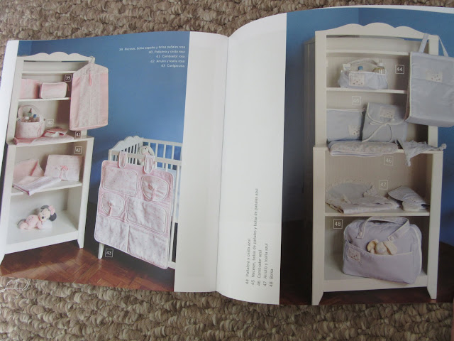Revista con patrones de costura para ropa de bebé accesorios neceser pañalera toalla cuarto de niño niña