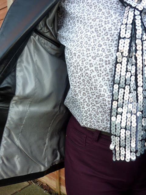 Lining of Precis Petite Leather Jacket, Land's End Shirt, New Look Sequin Scarf  | Petite Silver Vixen