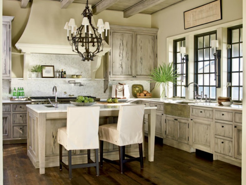 Coastal Weathered Gray Kitchen Cabinets