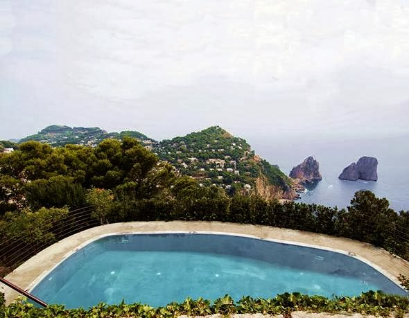 Pool overlooking the ocean at Castiglione castle in Capri