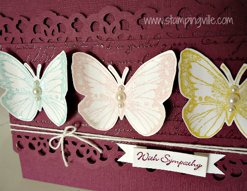 Delicate butterflies (mariposa) accented with pearls and pearlized accent ink
