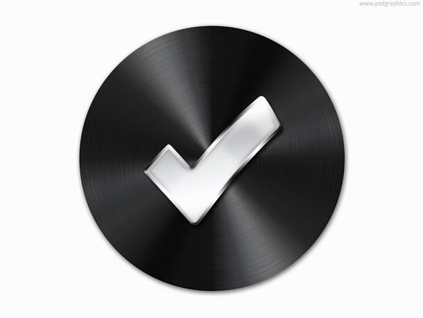 Black Metal Button Template PSD