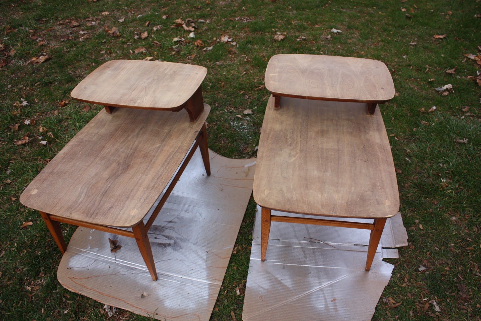 Before and After Refinished End Tables Eve of Reduction