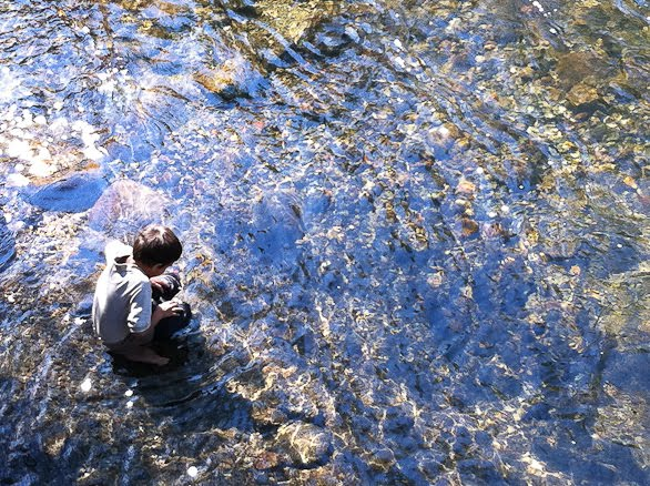 small boy, rocks and water
