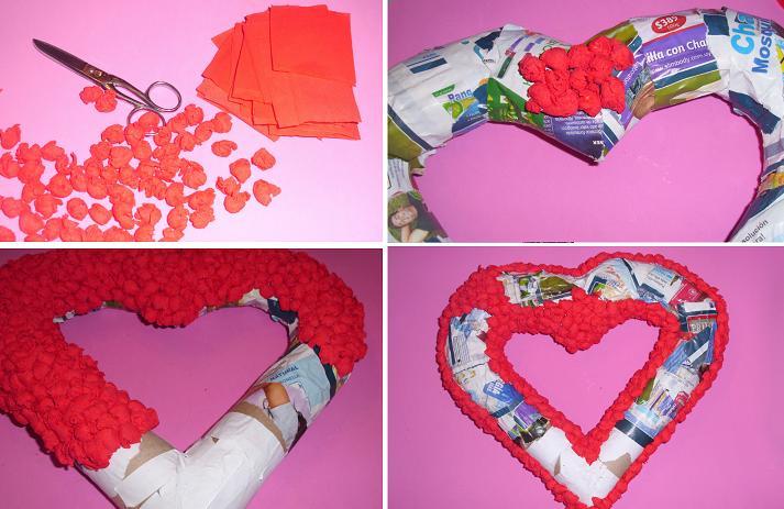 Como hacer un corazon con papel reciclado - Imagui