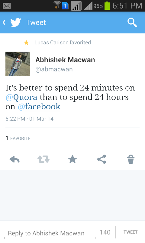 tweet about facebook and quora