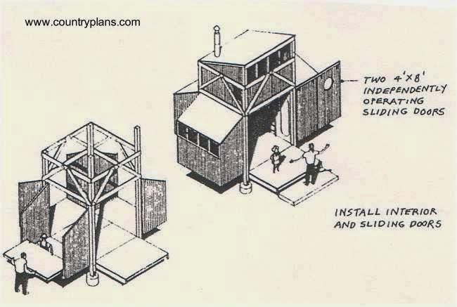 Dibujo técnico en perspectiva de cabaña para autoconstrucción