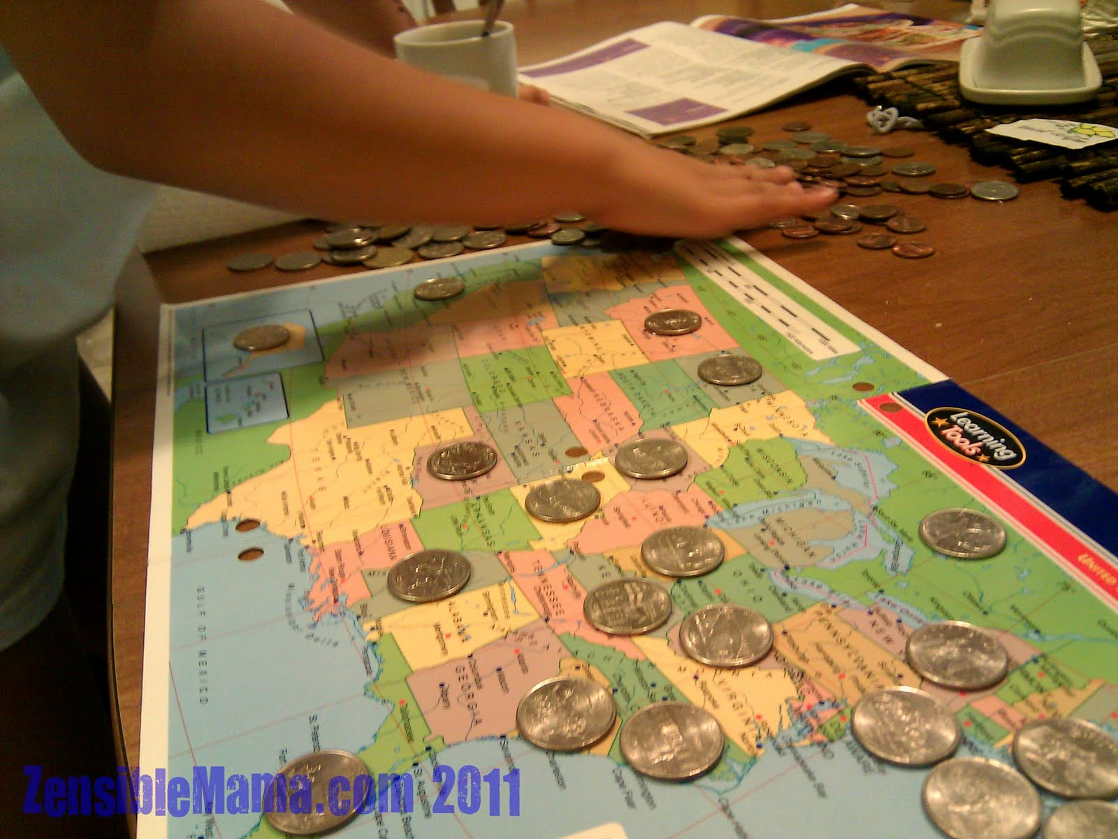 Us Map With The 50 States Identified By Name 50 Specially Marked Quarters With The 50 States Emblem A Clear Tape Or Glue If You Want It Permanent