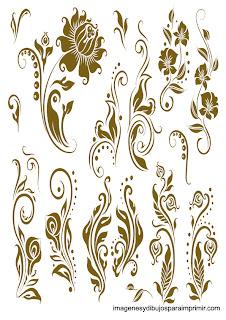 Bordes ocre Bordes florales para imprimir