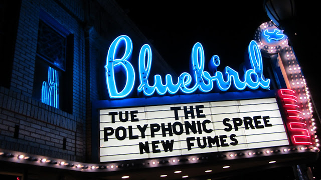 The Polyphonic Spree up on the Bluebird Theater Marquee.