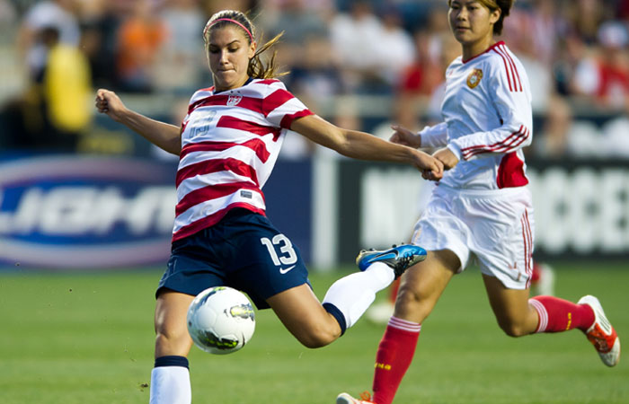 Alex Morgan, one of the fast, skilled young players Alex Morgan Olympics