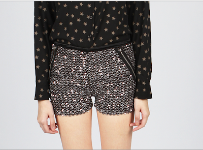 thescarletroom SEQUIN FAUX POCKET ZIPPER SHORTS - SILVER