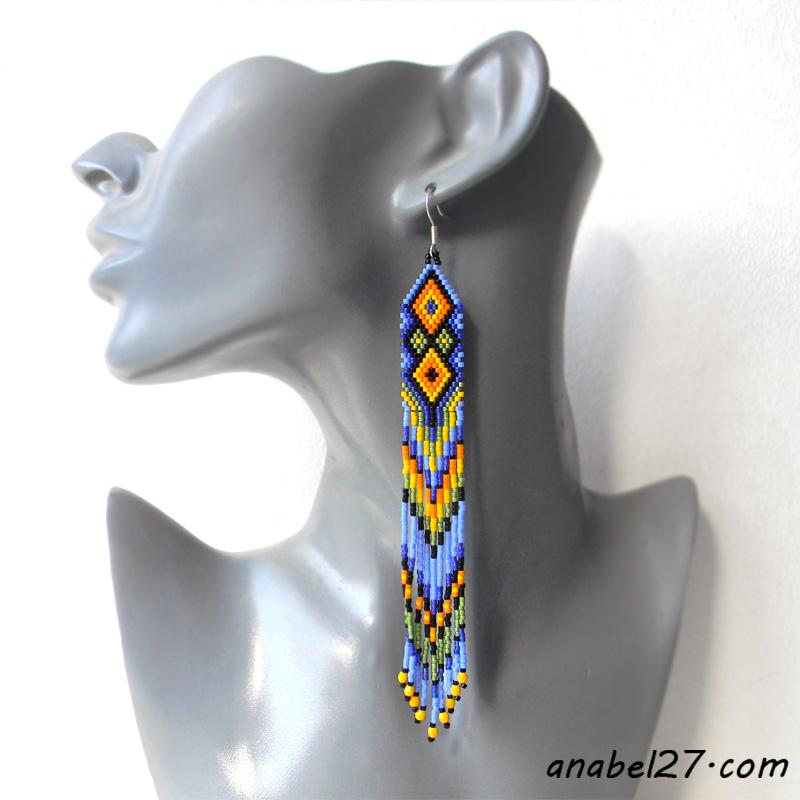 Яркие длинные серьги из бисера - seed bead earrings