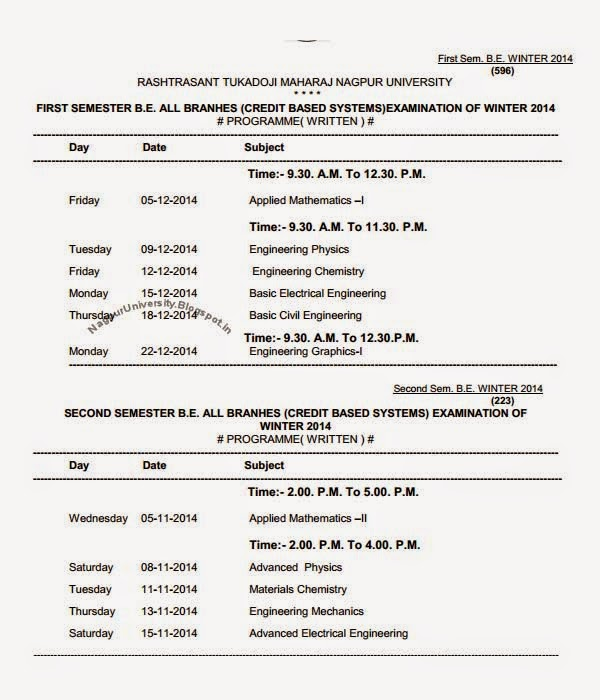 Engineering be 1st 2nd sem time table winter 2014 rtmnu for Rtmnu time table 4th sem