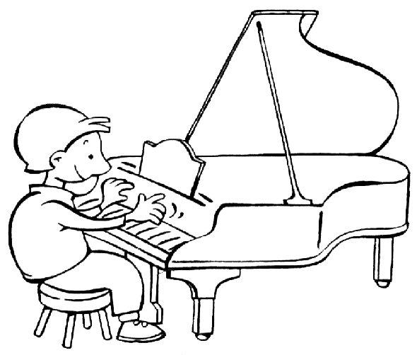 Niño tocando el piano para colorear