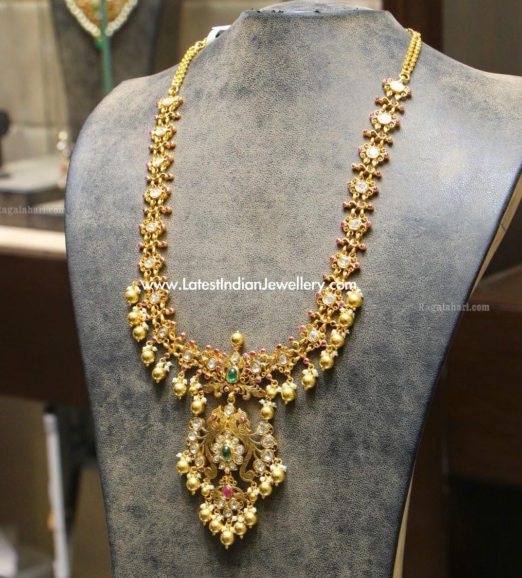 Polki Diamond Gold Haram