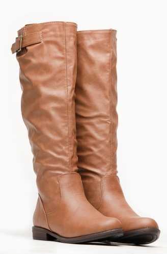 92289622f2a Bamboo Chestnut Faux Leather Riding Boots