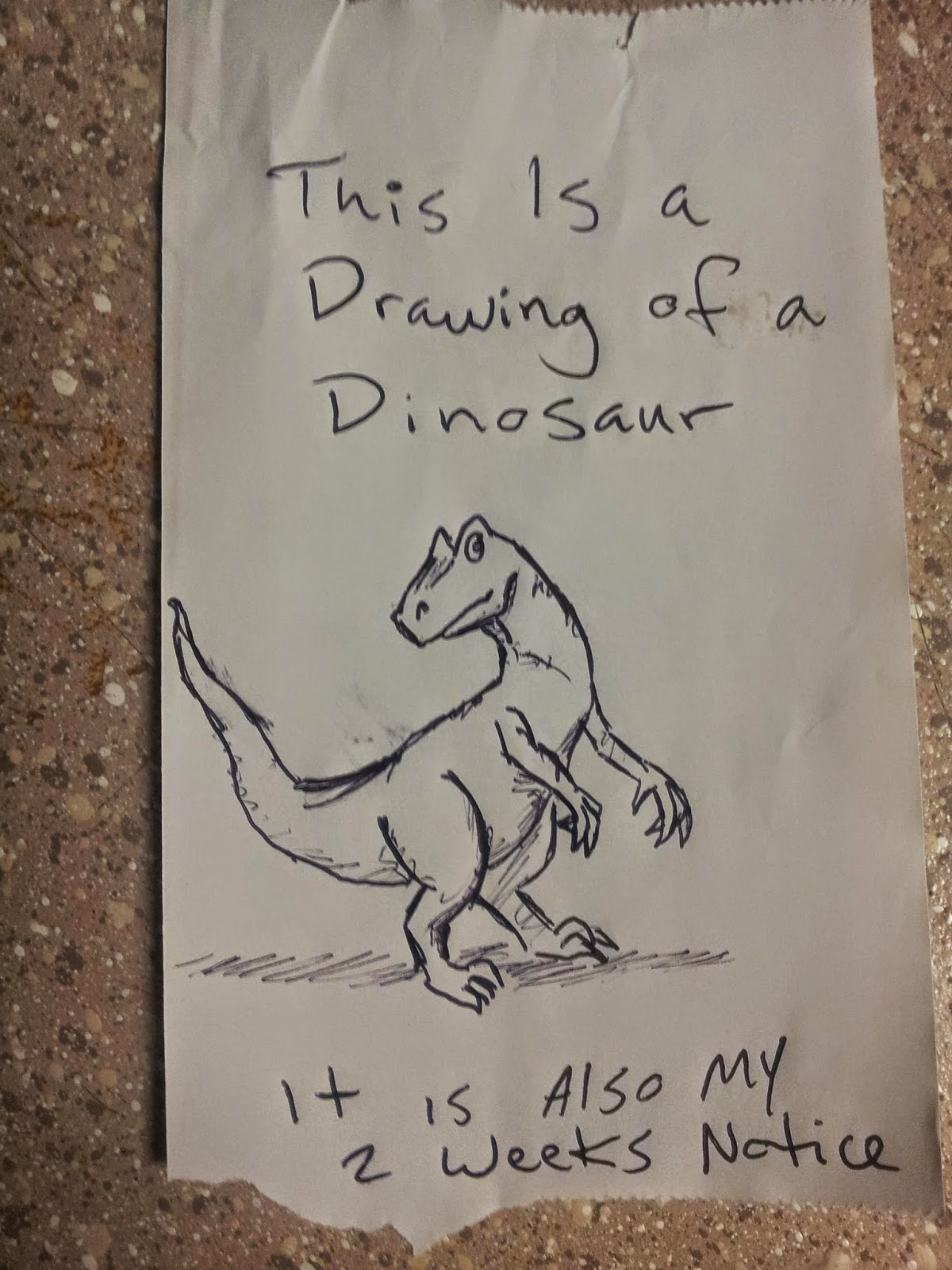 This is a drawing of a dinosaur, it is also my 2 weeks ...
