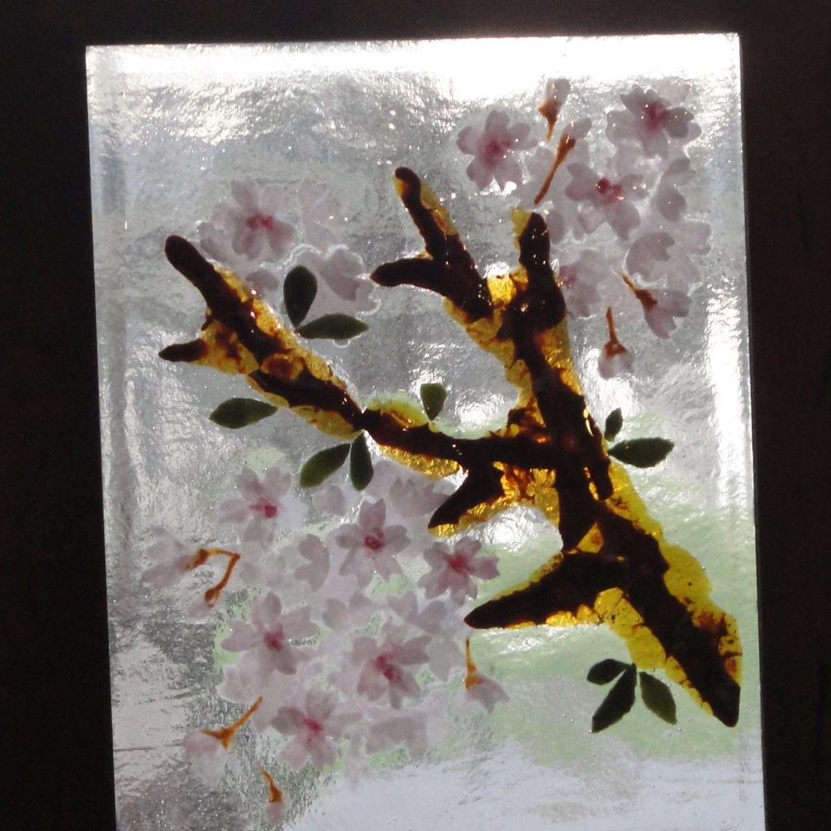fused stained glass sakura cherry blossom bloom flower flowers petals pink blooms on window flutterbyfoto flutterbybutterfly
