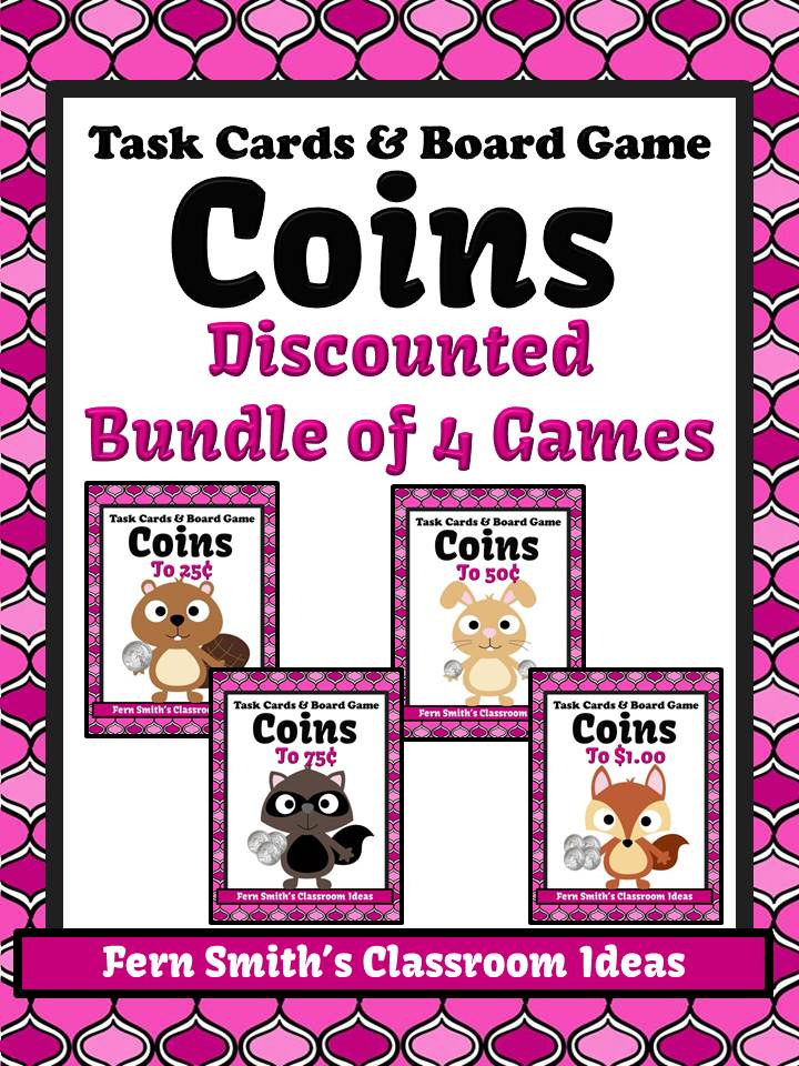 Fern Smith's iscounted Bundle of ALL 4 Coins Task Cards and Board Game - Critter Themed