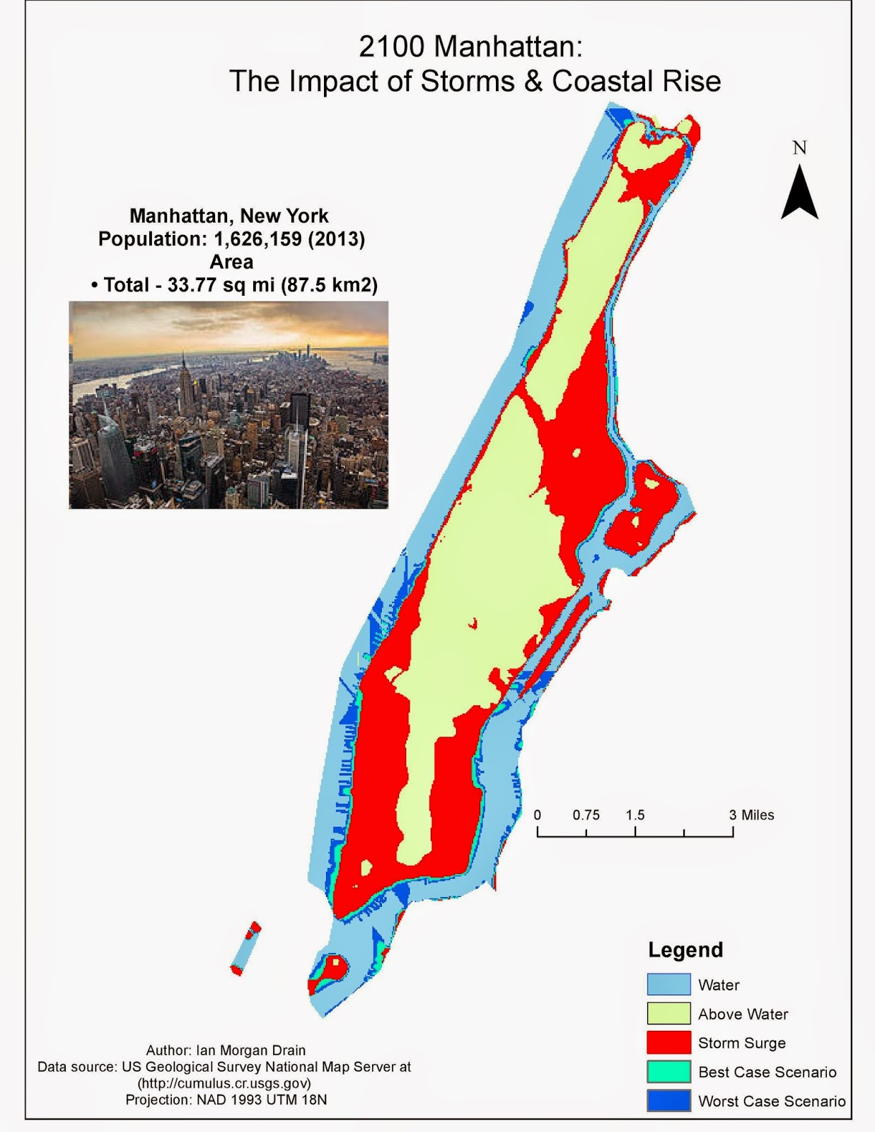 this map depicts area that would be effected by various events that would rise water levels this map utilized spatial analyst tools among others