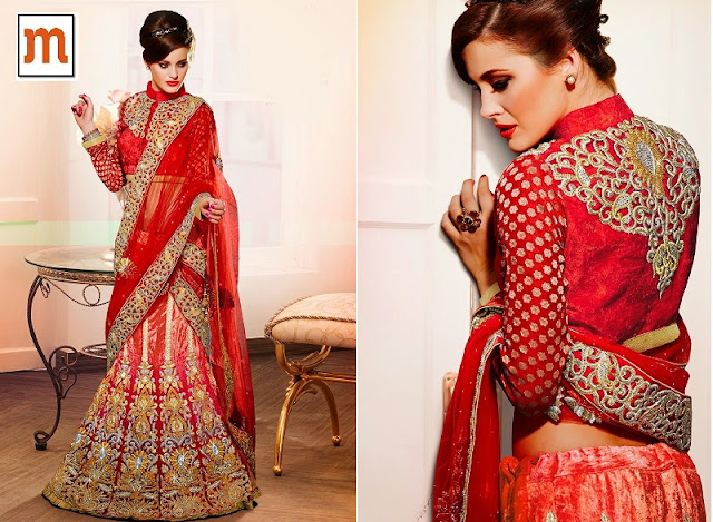 Red Velvet Embroidered Bridal Lehenga Saree