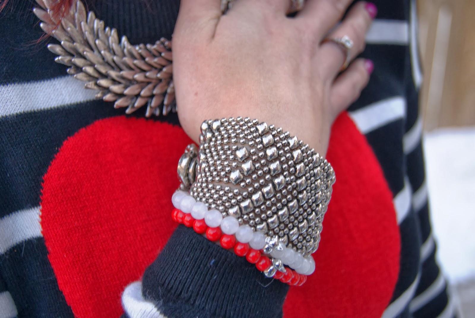 Valentine's Day Look: Express Heart Sweater Dress, Shop For Jayu Necklace, Black Pumps, White Sunglasses, Vintage Red clutch, Joseph Nogucci Memory Stone Bracelets, Fashion, Style, Melanie.Ps The Purple Scarf Toronto Blogger
