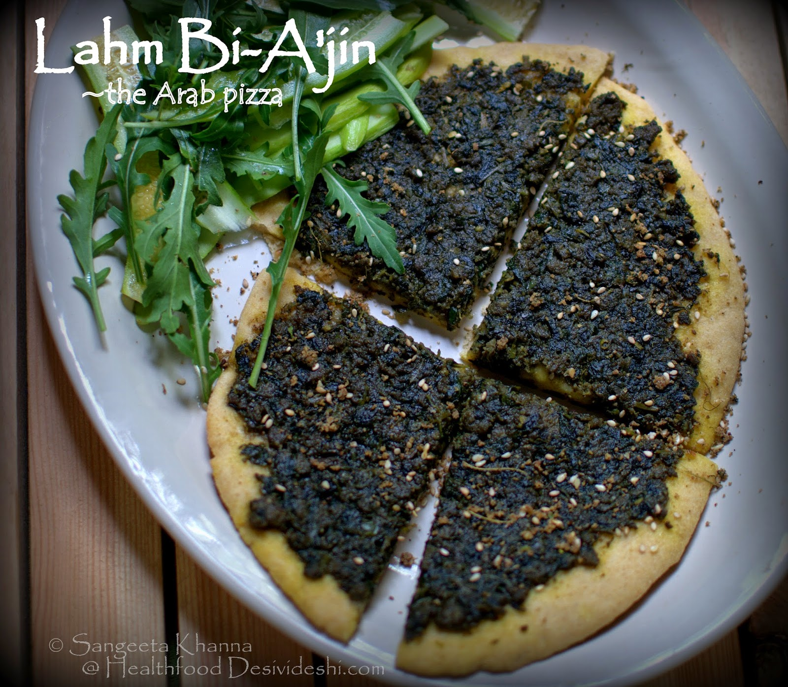 Lahm Bi-A'jin, Lahmajun or Sfiha, a middle eastern bread with mutton mince and purslane topping | the Arab pizza made my way