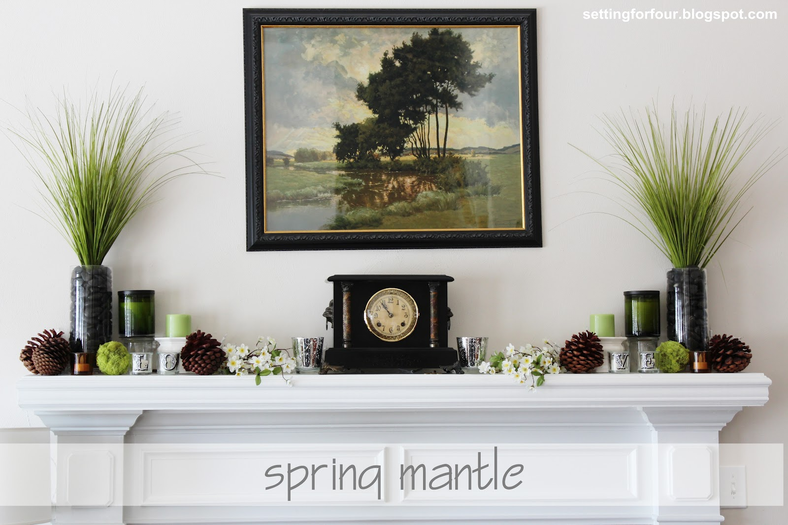 Spring mantle ideas from better homes and gardens Fireplace setting ideas
