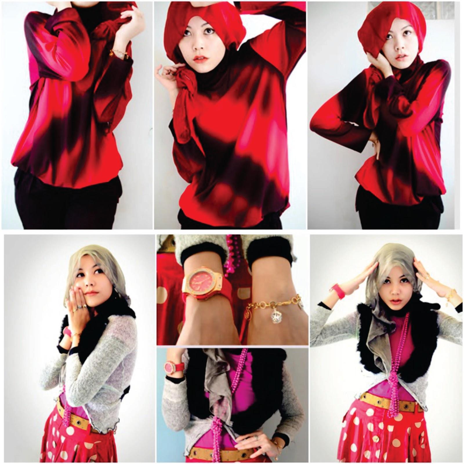 Model Hijab Paduan Busana Merah Tutorial Hijab Lengkap