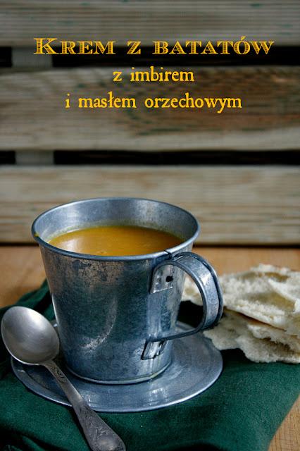 Krem z batatów z imbirem i masłem orzechowym